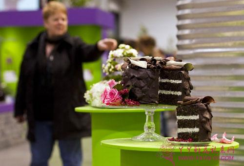 """在位于多伦多的加拿大国家会展中心,观众参观用植物做的""""蛋糕"""""""