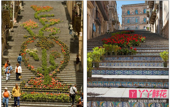 意大利:由花卉装饰的圣母山艺术阶梯