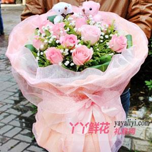 真心真意 - 11朵粉色玫瑰2只小熊