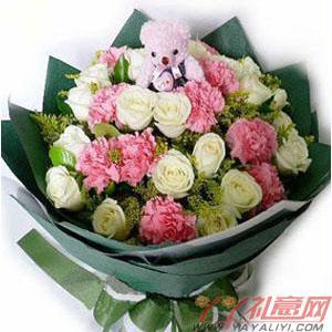19枝白玫瑰11枝粉色康乃馨1小熊(温情)