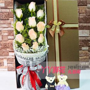 11朵香槟玫瑰2小熊方形礼盒