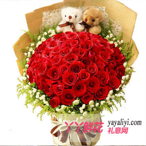 33朵红玫瑰(爱你三生三世)2只小熊