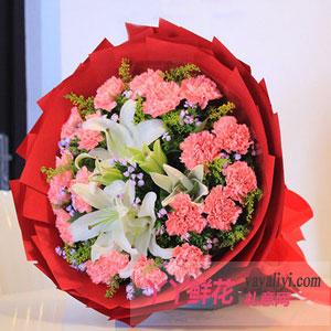 鲜花速递19枝粉康乃馨3朵百合