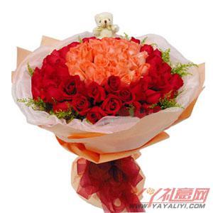 33朵粉玫瑰66朵红玫瑰1个小熊