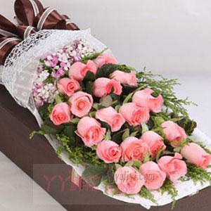 圣诞节送女友19朵粉玫瑰礼盒