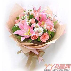 东郊鲜花11朵粉色玫瑰3朵粉百合