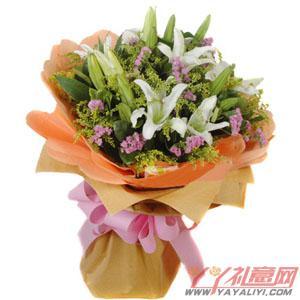 鲜花5朵白香水百合在线送花(心动的感觉)