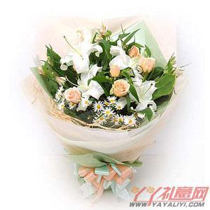 鲜花9朵香槟玫瑰2朵白色香水百合预定(问候)