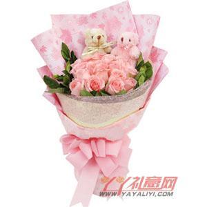 网上送花16朵粉玫瑰2只5寸小熊花束