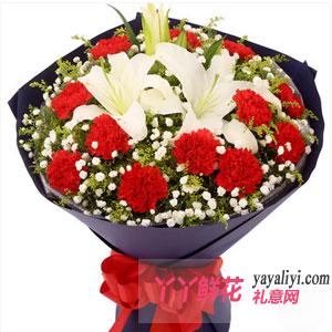 鲜花19朵红色康乃馨3朵百合
