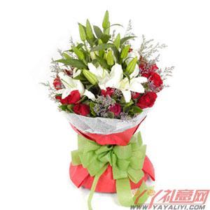 鲜花19枝红玫瑰3枝百合