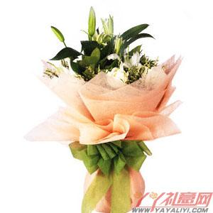 鲜花11朵白玫瑰2枝多头百合