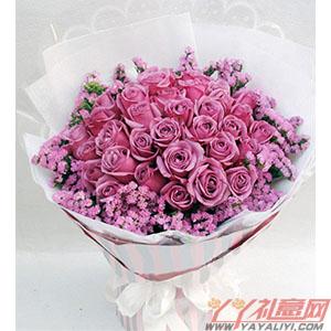 紫色恋曲 - 鲜花33枝紫玫瑰