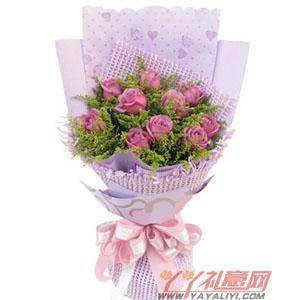 鲜花10枝紫玫瑰