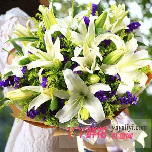 女性朋友生日美丽的祝福18朵多头白百合