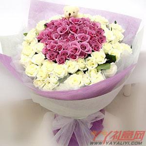 鲜花42支紫玫瑰59支白玫瑰