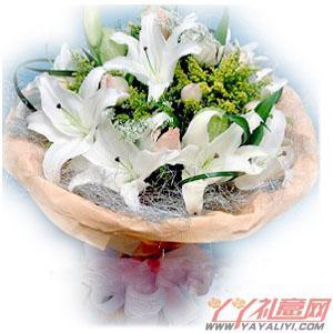西安高新锦业二路送花9朵粉玫瑰6枝白香水百合