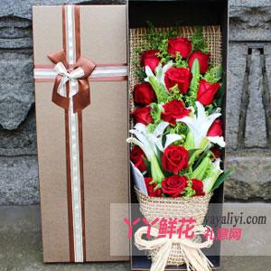 鲜花19朵红玫瑰3枝多头百合礼盒