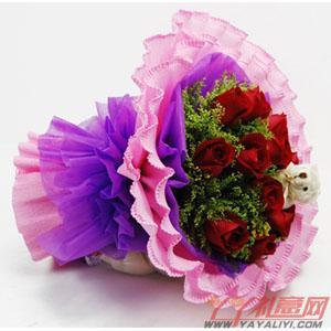 鲜花11朵红玫瑰泰迪小熊鲜花预订