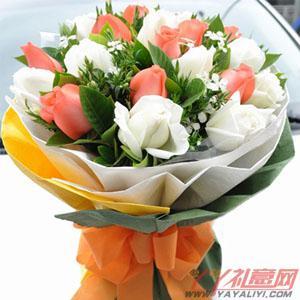 鲜花11朵白玫瑰11朵粉玫瑰