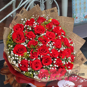 坠入爱河 - 鲜花速递33枝红玫瑰预订
