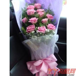 鲜花网站订花12朵粉玫瑰