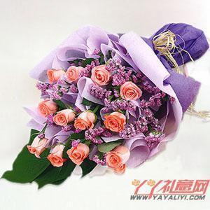 网站订花12朵粉玫瑰鲜花预定
