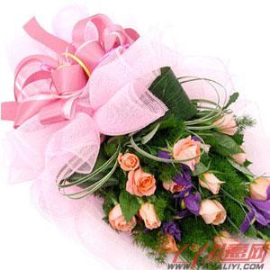 鲜花网站12朵粉玫瑰