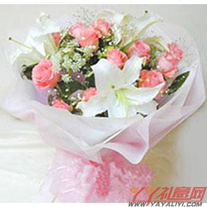 2支白色多头香水百合12朵粉玫瑰