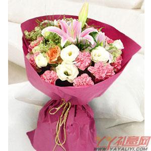 9朵康乃馨1朵百合3朵橘色玫瑰(思思情切)