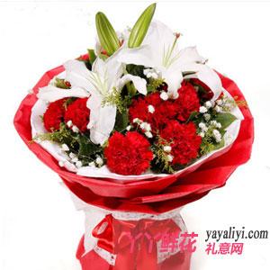 鲜花网11枝红色康乃馨配多头百合