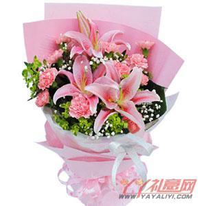 2枝多头百合11枝粉康乃馨