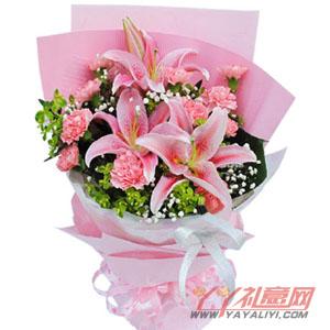 春暖花开 - 2枝多头百合11枝粉康乃馨