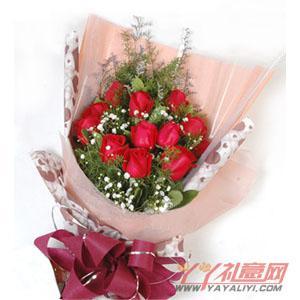 鲜花速递12枝红玫瑰