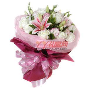 免费配送12朵白玫瑰2枝粉香水百合