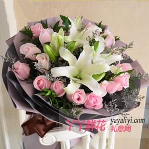 守护幸福 - 19朵粉玫瑰6朵百合
