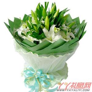 鲜花10枝多头白色香水百合(花萱)同城送花