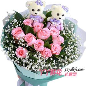11朵粉玫瑰2小熊鲜花预订