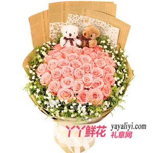 情窦初开 - 鲜花33朵粉玫瑰2小熊预订
