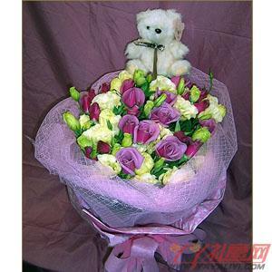 鲜花19紫玫瑰加小熊