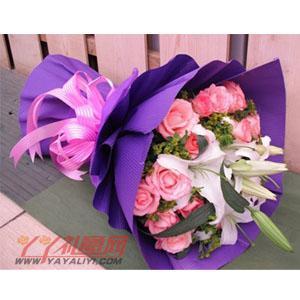 鲜花21枝戴安娜玫瑰2枝百合