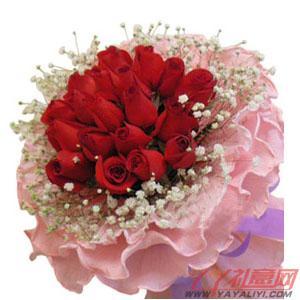 鲜花33朵红玫瑰2小熊咖色礼盒