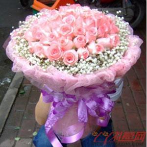 鲜花66枝粉玫瑰鲜花速递
