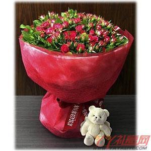 鲜花99枝红色玫瑰送小熊