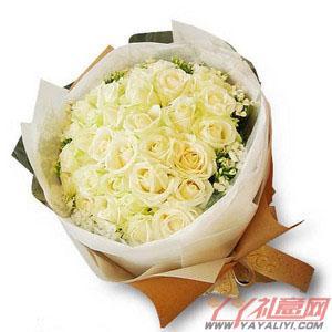 鲜花速递33枝白玫瑰订花