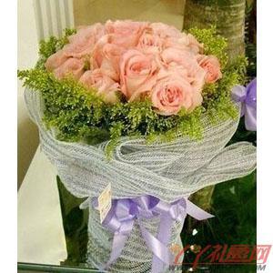 鲜花19枝粉玫瑰(今生情)预订
