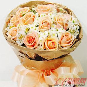 11枝香槟玫瑰网上订花