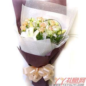 鲜花10枝香槟玫瑰1枝百合(淡雅无闲)