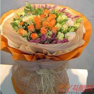 鲜花速递19枝橘色玫瑰10枝白色龙胆