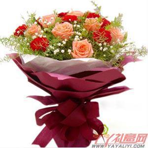 鲜花店9枝康乃馨12枝粉色玫瑰(爱的唯一)